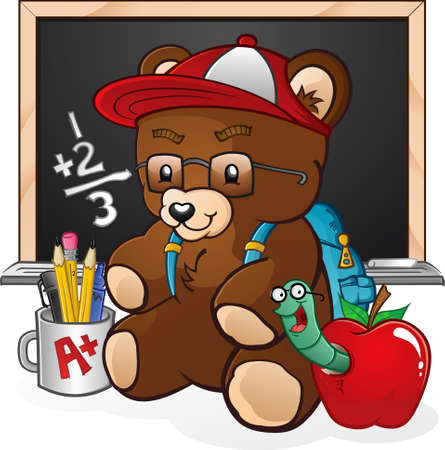 teddy bear cartoon: School Student Teddy Bear Cartoon Character Illustration