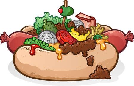 perro caliente: Chili Cheese Hot Dog con coberturas de dibujos animados