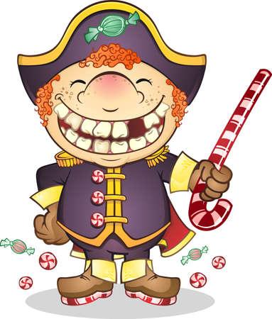 navy ship: Caramelo barco de la Armada Capit�n de dibujos animados Vectores