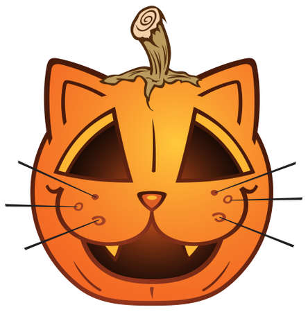 carved pumpkin: Cat Jack O Lantern Pumpkin Cartoon Character Illustration