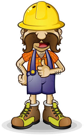 sideburns: Construction Worker Cartoon Character giving a Thumbs Up