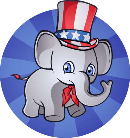 Elephant American Patriot Cartoon Character Vector