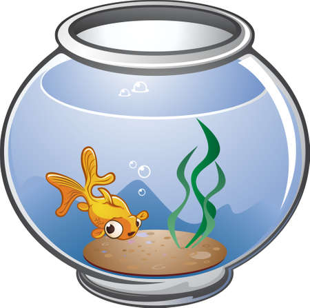 tank fish: Pet Goldfish Cartoon in a Bowl Illustration