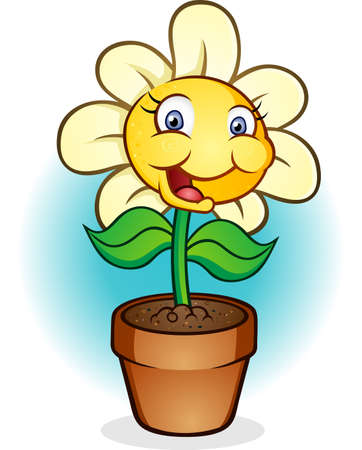 chamomile flower: Flower in a Pot Cartoon Character