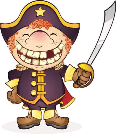 navy ship: Barco de la Armada Capit�n de dibujos animados Vectores
