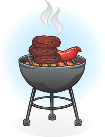 coals: Barbecue Grill Cartoon with Burgers and Hot Dog