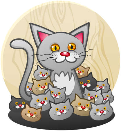 purring: Mother Cat Cartoon Character with Kittens