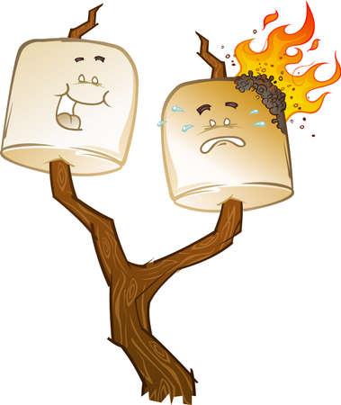 Roasting Marshmallow Cartoon Characters on a Twig