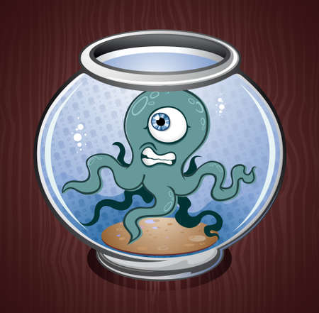 exoticism: Pet Squid or Octopus in a Fish Bowl Illustration