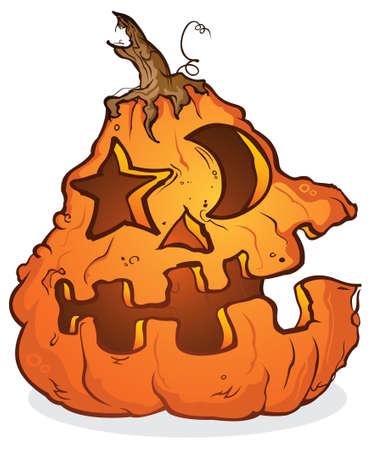 jack o: Halloween Jack O Lantern with Star and Moon Shaped Eyes Illustration