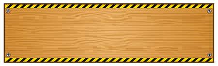 Wooden Plank with Caution Tape on Edges Illustration Illustration