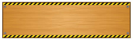 Wooden Plank with Caution Tape on Edges Illustration Vector