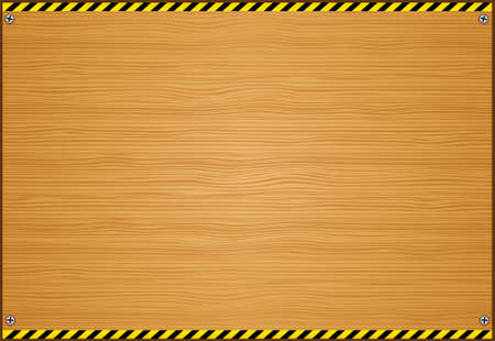 Wooden Board with Caution Tape on Edges Illustration Vector