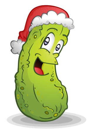 Christmas Pickle wearing a Santa Hat Cartoon