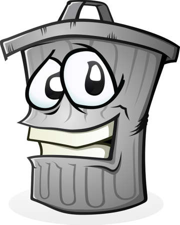 ゴミ箱は、漫画のキャラクターをクリーンアップすることが  イラスト・ベクター素材