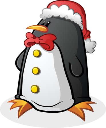 Penguin Cartoon Character in a Santa Hat Illustration