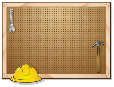workbench: Pegboard Background with Hard Hat Hammer and Wrench Illustration