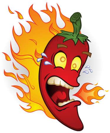 Burning Hot Chili Pepper Cartoon on Fire Vector