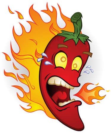 chiles picantes: Burning Hot Chili Pepper Cartoon on Fire