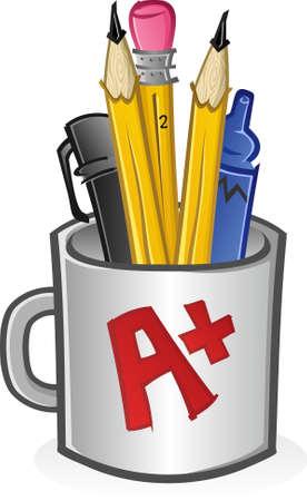 Pencils Pens and Markers in a Mug Cartoon Vector