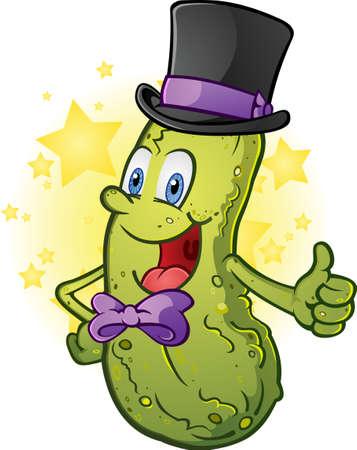 PICKLES: Pickle historieta que lleva un sombrero de copa y pajarita Vectores