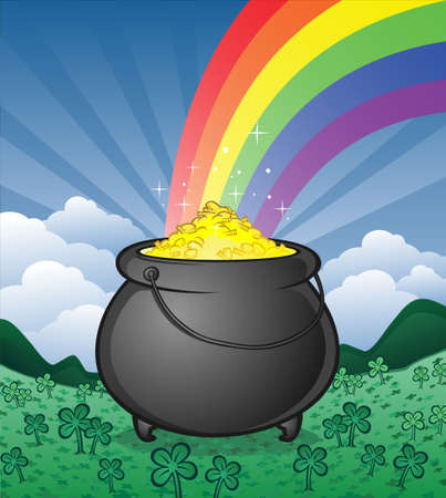 irish landscape: Pot of Gold with a Rainbow in a Clover Patch Illustration