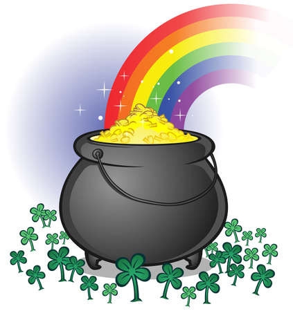 good luck charm: Pot of Gold with a Rainbow in a Clover Patch Illustration