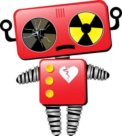 Sad Red Toy Robot Cartoon Character