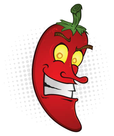 capsaicin: Red Hot Chili Pepper Smiling Cartoon Character