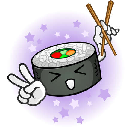 peace sign: Sushi Cartoon Character with Chop Sticks giving Peace Sign Illustration