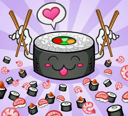 Sushi Cartoon Character with a Love Heart and Chop Sticks