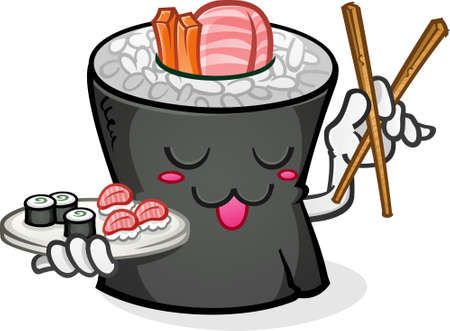 Sushi Cartoon Character with Chop Sticks Ilustracja