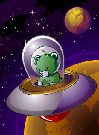 platillo volador: Extranjero de espacio del oso de peluche en un personaje de dibujos animados UFO Flying Saucer