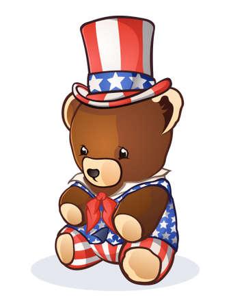 Uncle Sam Teddy Bear Cartoon Character Vector
