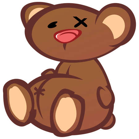 patched up: Old Worn Out Teddy Bear Toy Cartoon Character Illustration