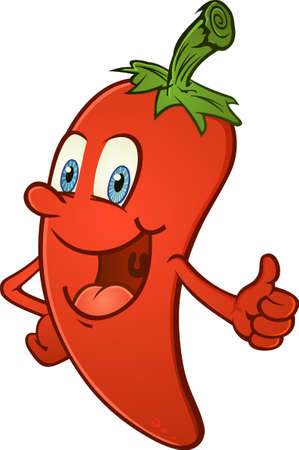 hang body: Hot Chili Pepper Thumbs Up Cartoon Character