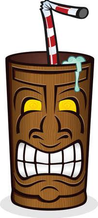 sip: Bebida congelada en una Copa del Tiki de la historieta