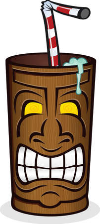 frozen drink: Frozen Drink in a Tiki Cup Cartoon
