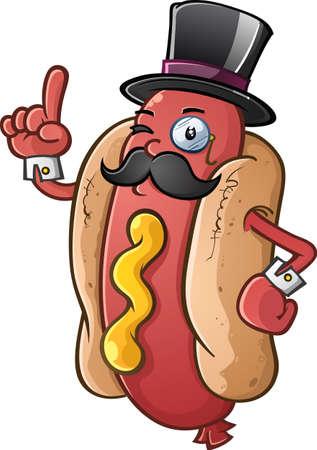 Hot Dog Gentleman Cartoon Character Vectores