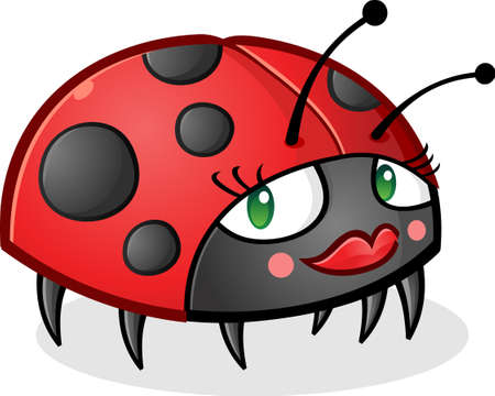 mariquita cartoon: Car�cter llevaba maquillaje Ladybug Cartoon Vectores