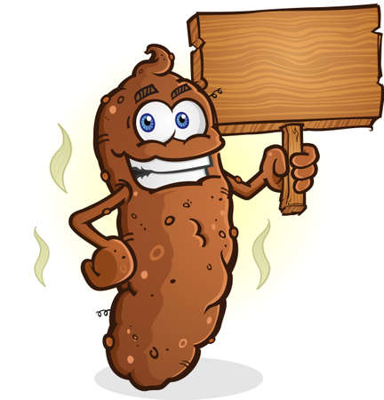 Poop Cartoon Character Holding a Blank Wooden Sign Illustration