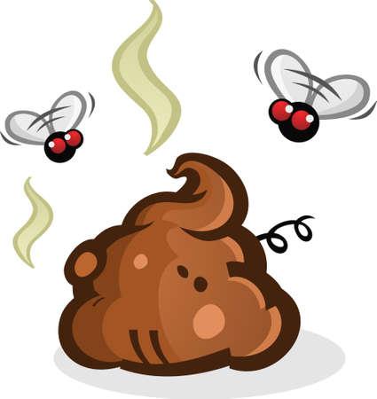 mosca caricatura: Pila Poop Stinky con las moscas de la historieta
