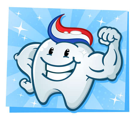 smiles teeth: Strong Tooth Flexing Muscles Cartoon Character
