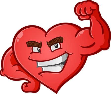 body heart: Heart Flexing Muscles Cartoon Character Illustration