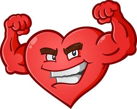 Heart Flexing Muscles Cartoon Character 일러스트