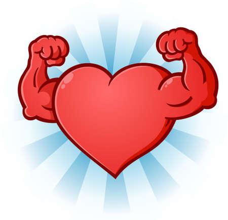 Heart Flexing Muscles Cartoon Character Vectores