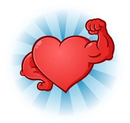 Corazón Flexionar los músculos de dibujos animados Foto de archivo - 37069506