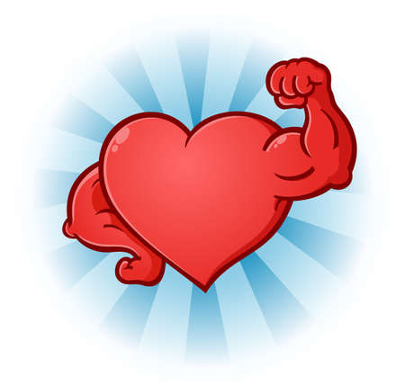 Heart Flexing Muscles Cartoon Character Ilustracja