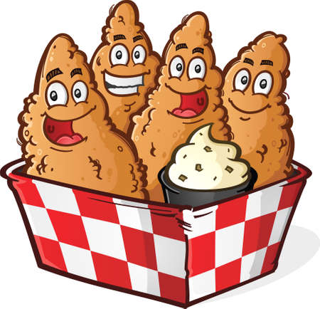 Crispy Golden Chicken Tenders Cartoon Characters in a Checkered Basket with Ranch Dipping Sauce Фото со стока - 38216141
