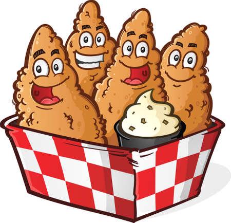 pollo caricatura: Personajes Crispy Chicken Tenders oro de la historieta en una cesta a cuadros con la salsa de inmersi�n Ranch Vectores